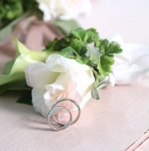 flowers & pair of marriage rings