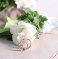 flowers & pair of marriage rings